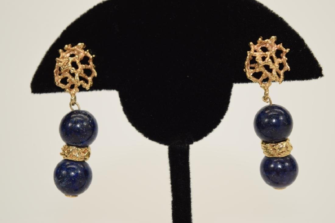 PAIR 14K GOLD LAPIS LAZULI EARRINGS - 2