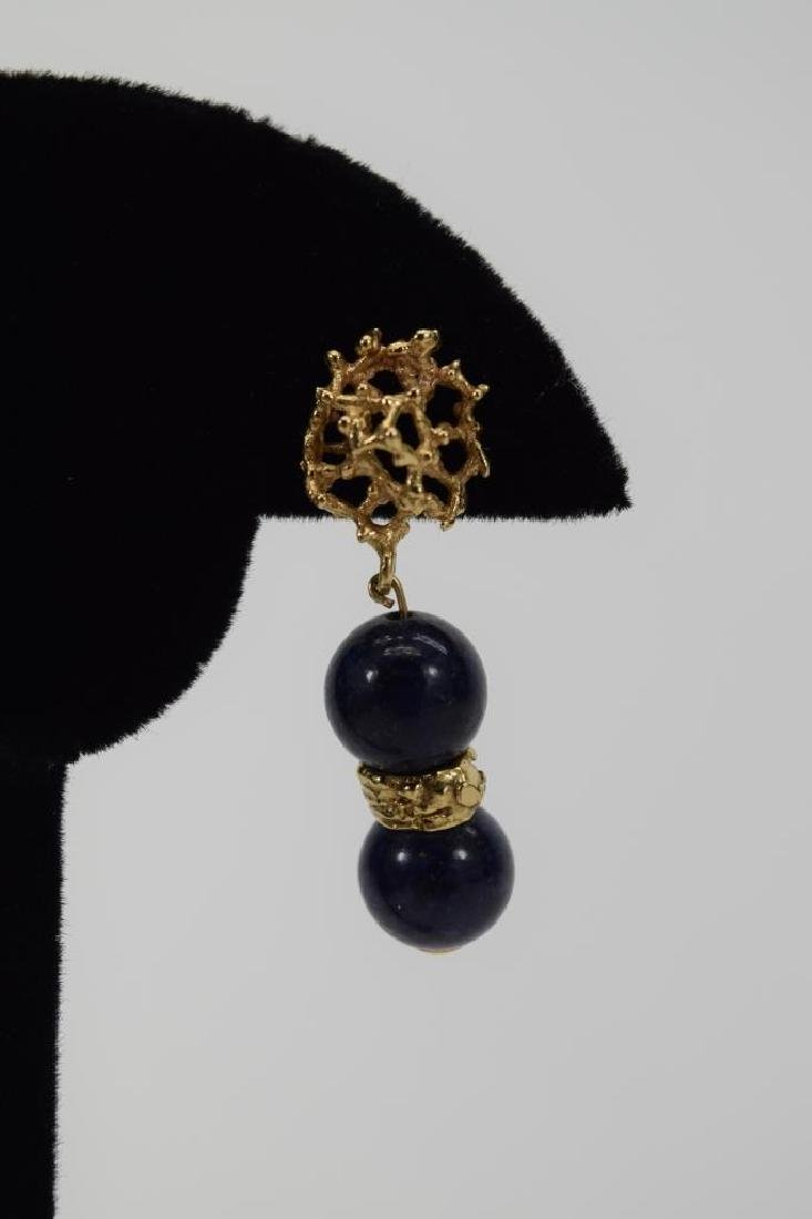 PAIR 14K GOLD LAPIS LAZULI EARRINGS - 3