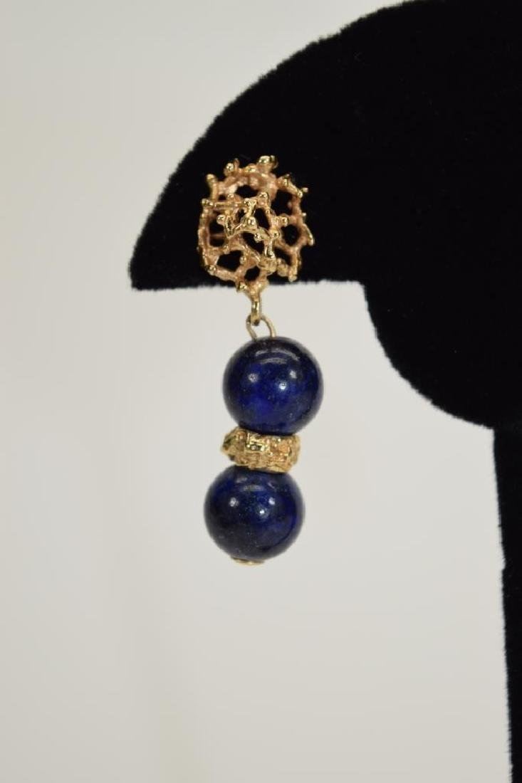 PAIR 14K GOLD LAPIS LAZULI EARRINGS - 4