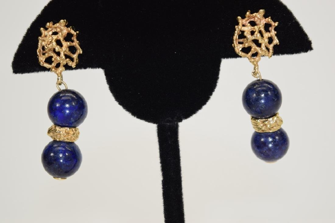 PAIR 14K GOLD LAPIS LAZULI EARRINGS - 5