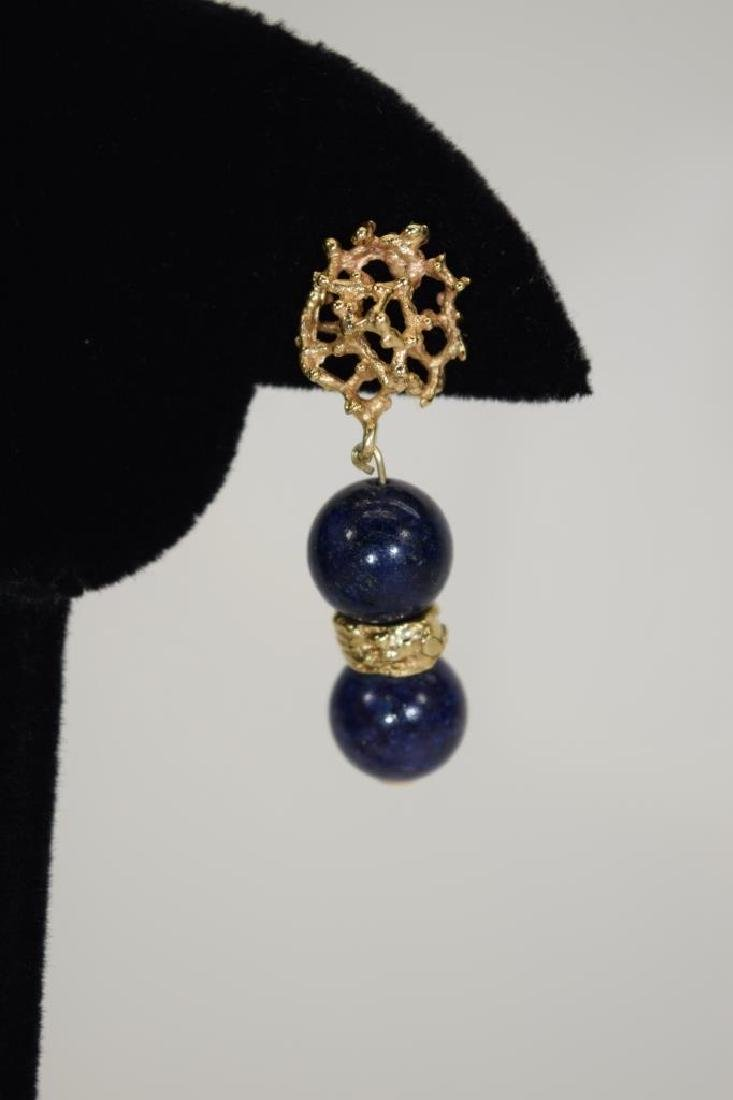 PAIR 14K GOLD LAPIS LAZULI EARRINGS - 6