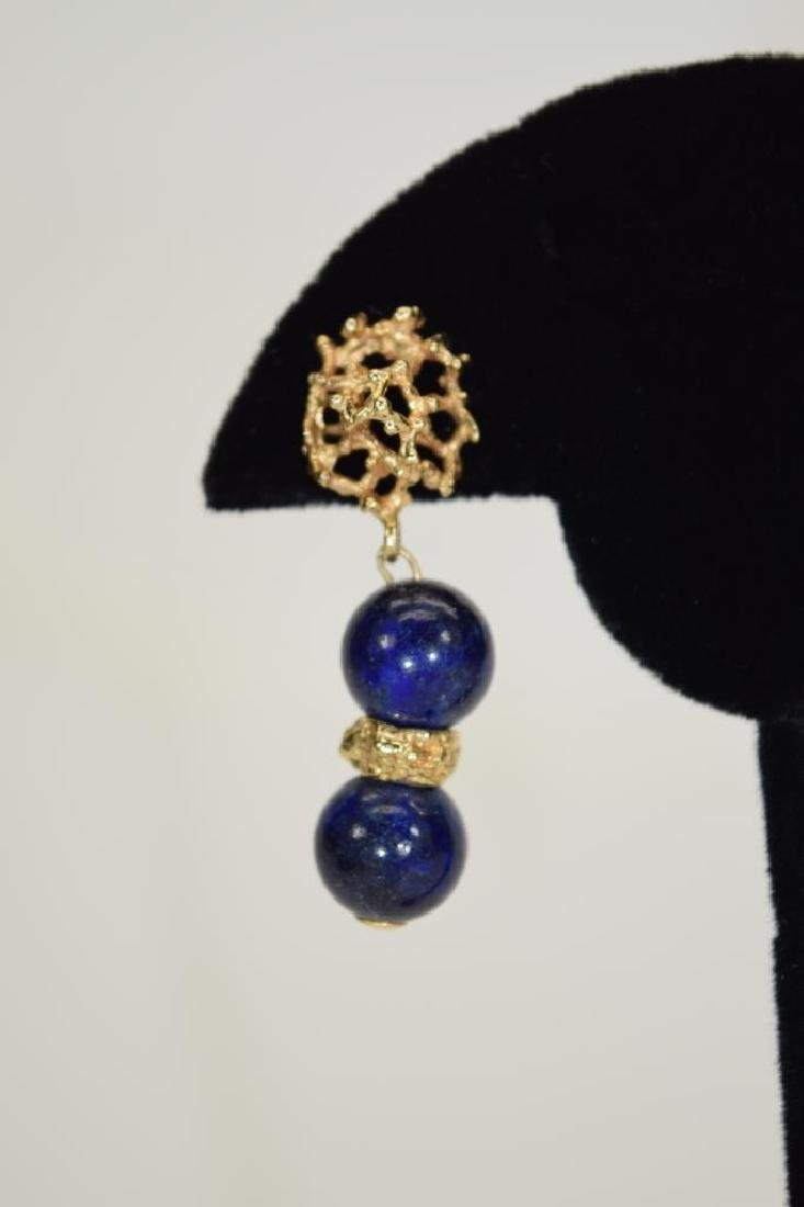 PAIR 14K GOLD LAPIS LAZULI EARRINGS - 7