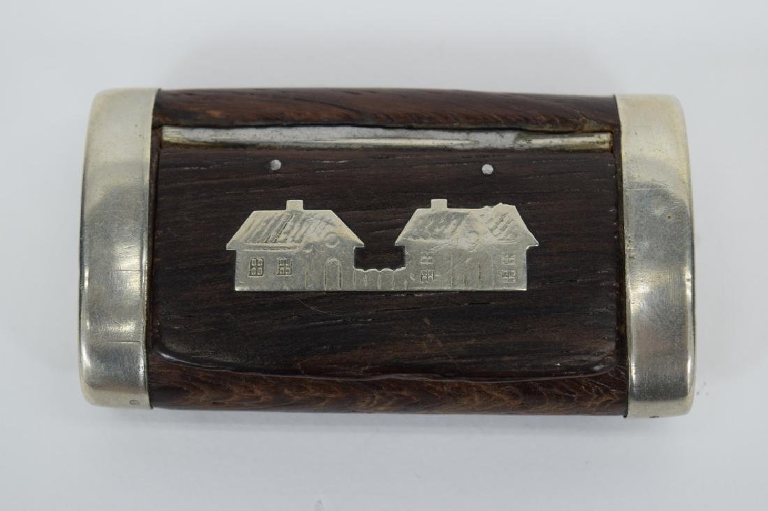 ANTIQUE STERLING SILVER MOUNTED WOOD SNUFF BOX