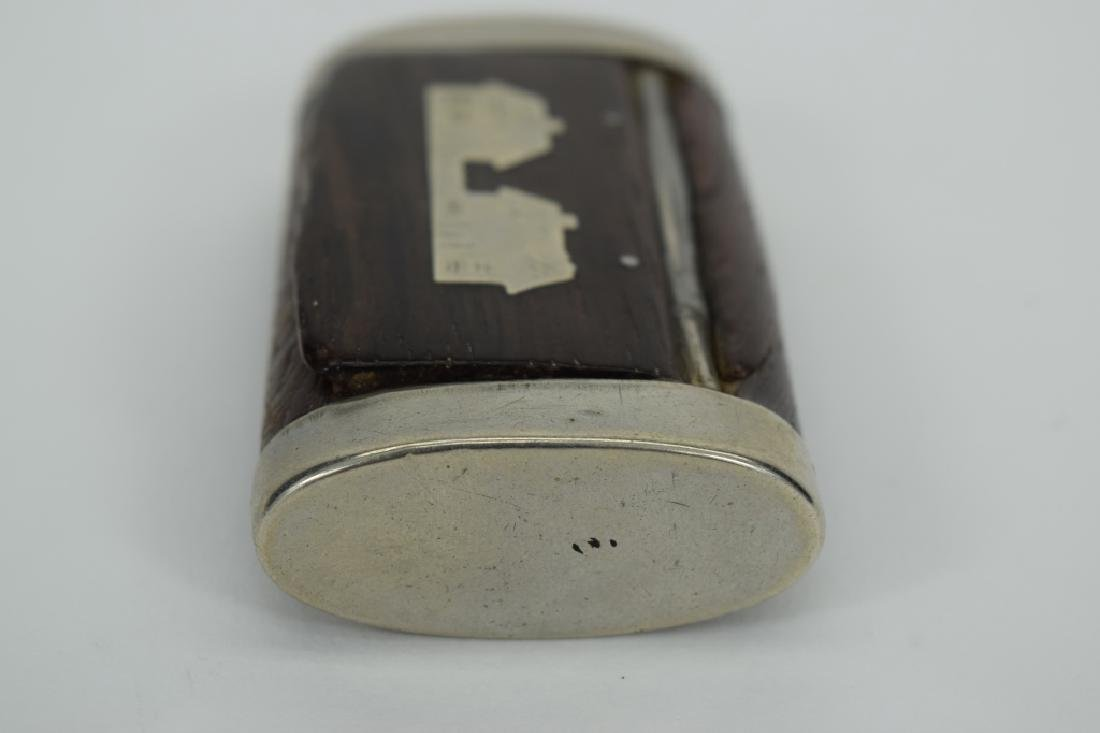 ANTIQUE STERLING SILVER MOUNTED WOOD SNUFF BOX - 3
