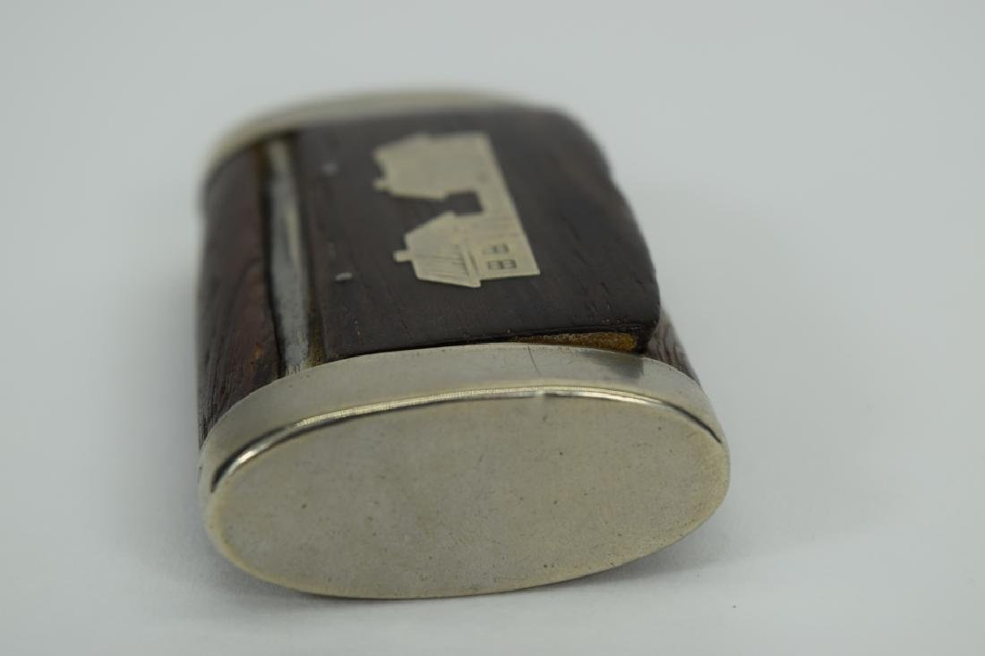 ANTIQUE STERLING SILVER MOUNTED WOOD SNUFF BOX - 5