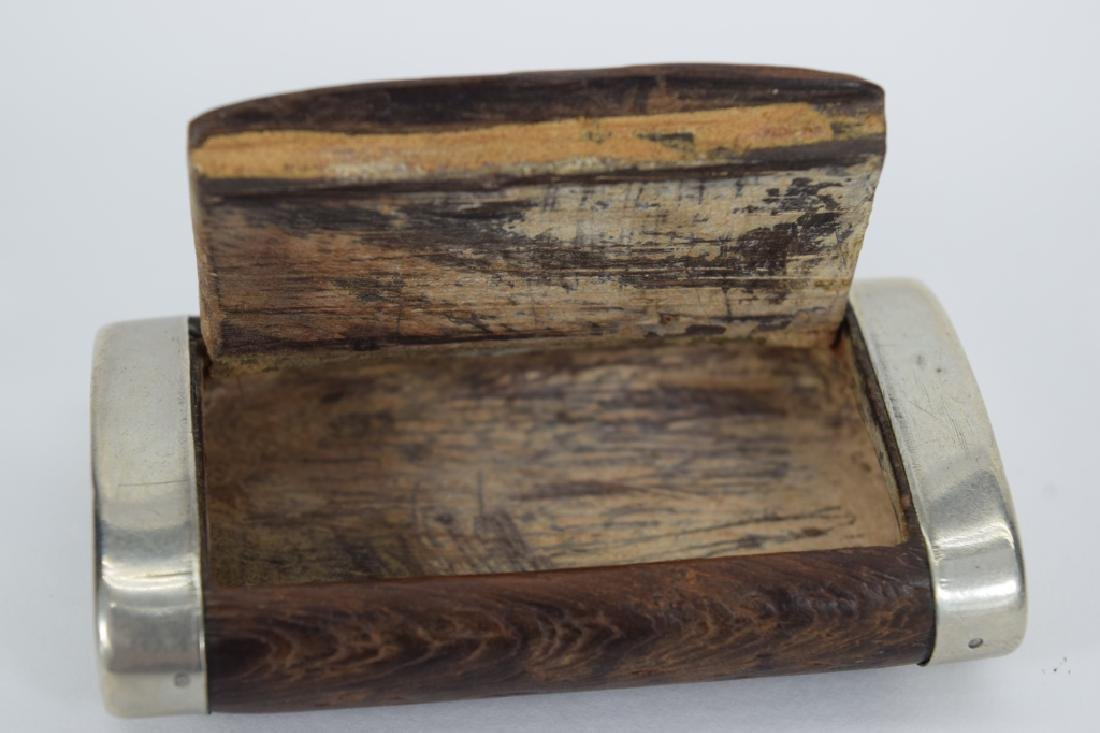 ANTIQUE STERLING SILVER MOUNTED WOOD SNUFF BOX - 7