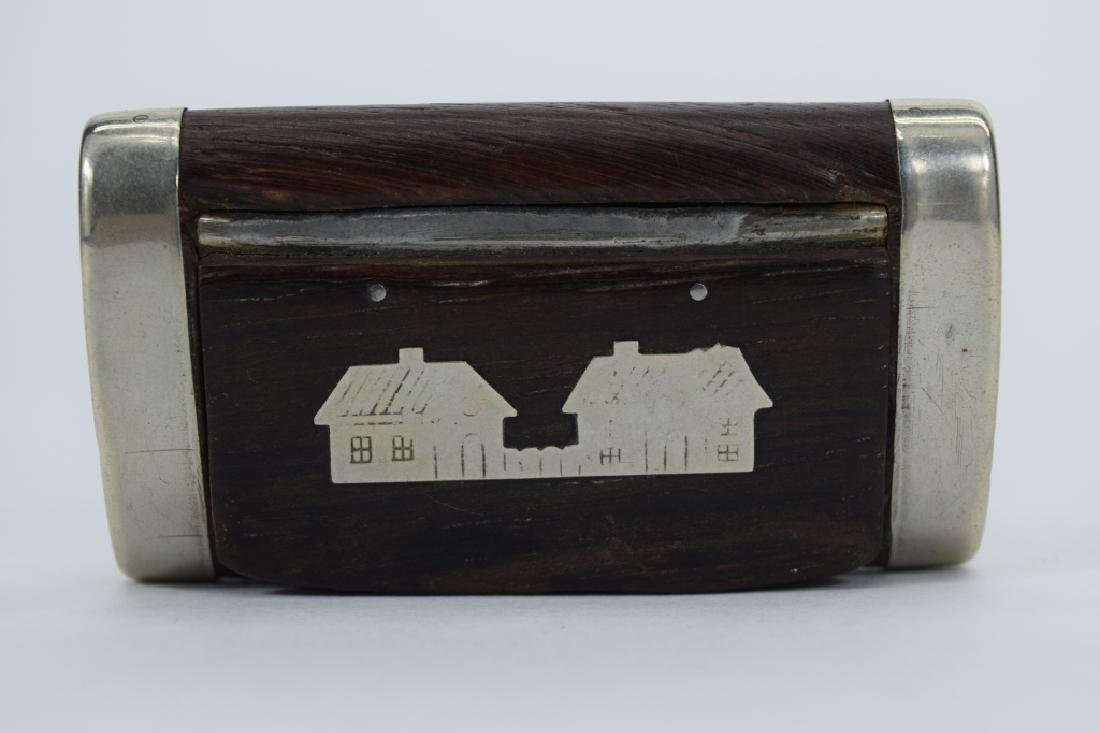 ANTIQUE STERLING SILVER MOUNTED WOOD SNUFF BOX - 8