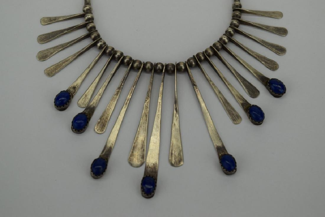 STERLING SILVER LAPIS LAZULI NECKLACE & EARRING - 10