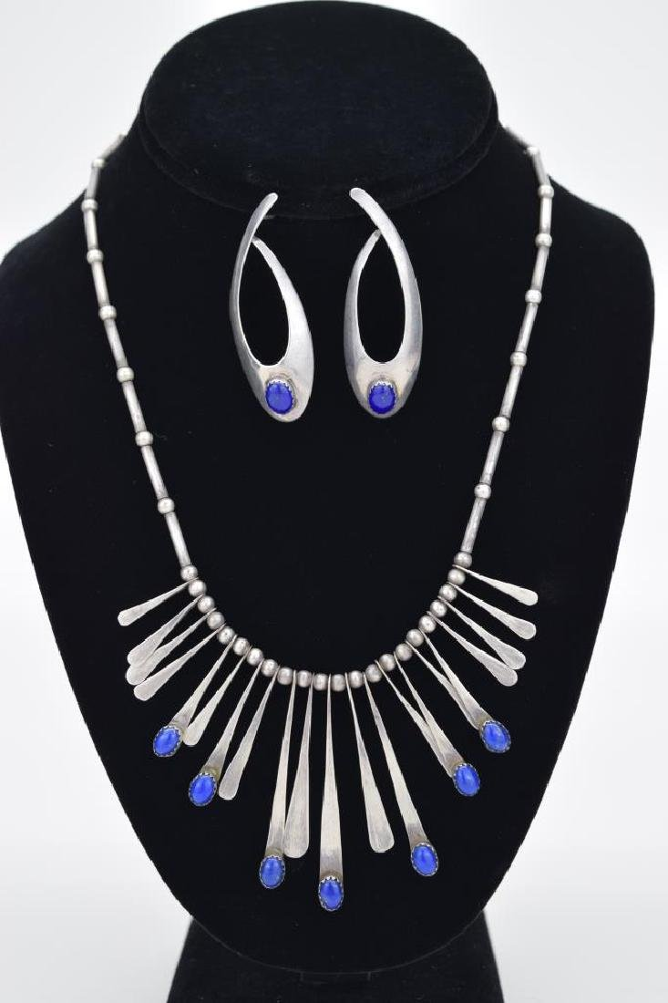 STERLING SILVER LAPIS LAZULI NECKLACE & EARRING