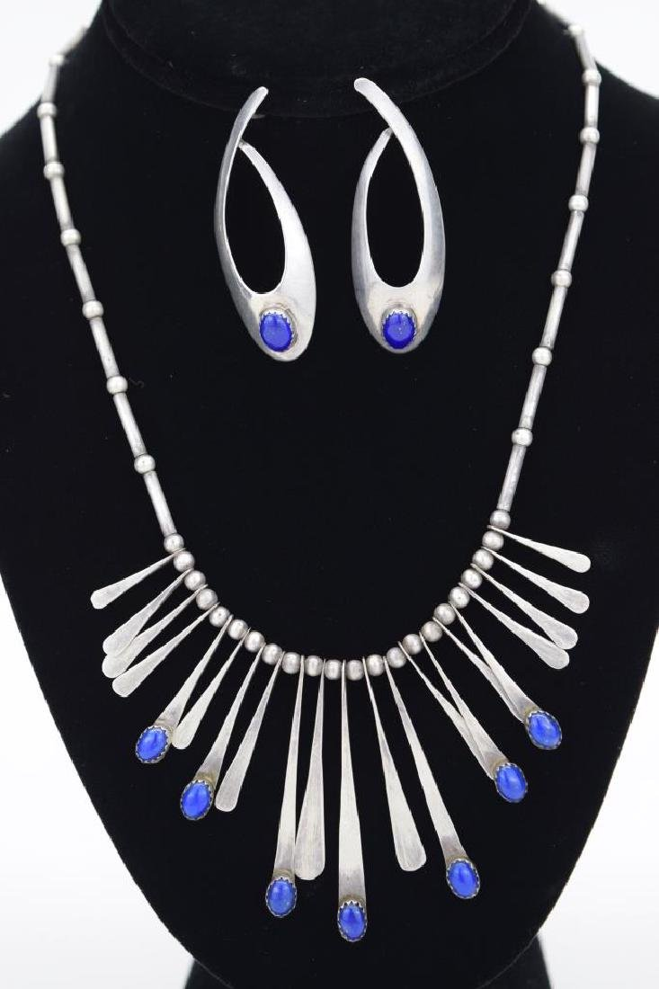 STERLING SILVER LAPIS LAZULI NECKLACE & EARRING - 2