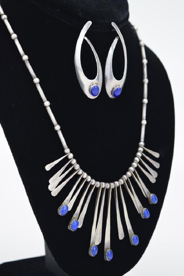 STERLING SILVER LAPIS LAZULI NECKLACE & EARRING - 3