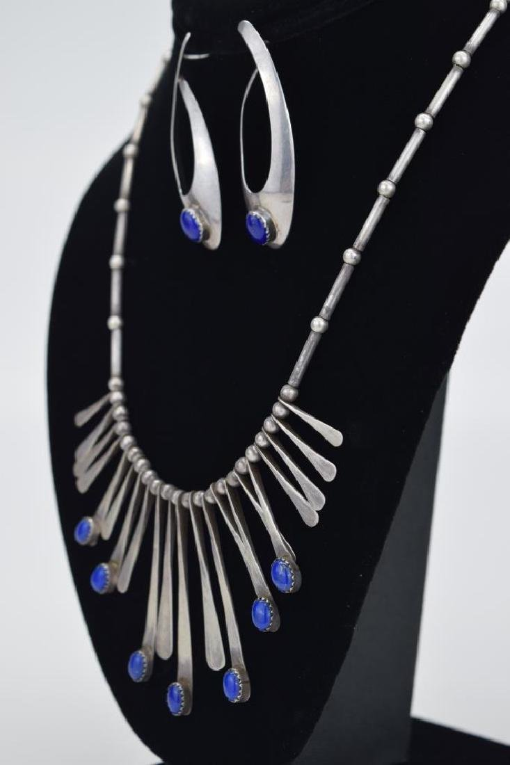 STERLING SILVER LAPIS LAZULI NECKLACE & EARRING - 4