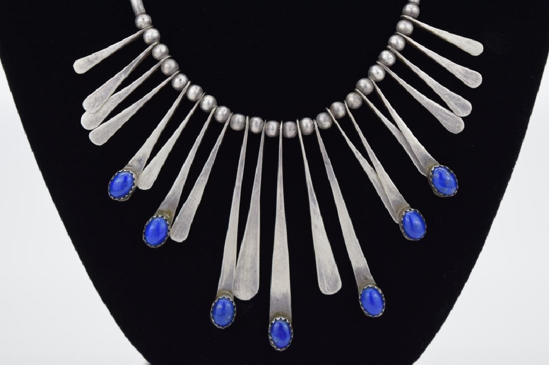 STERLING SILVER LAPIS LAZULI NECKLACE & EARRING - 5