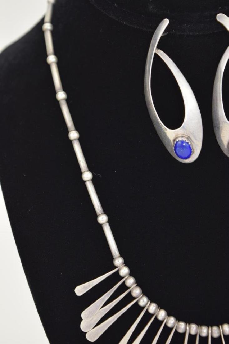 STERLING SILVER LAPIS LAZULI NECKLACE & EARRING - 6