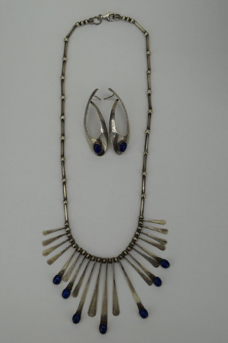 STERLING SILVER LAPIS LAZULI NECKLACE & EARRING - 9