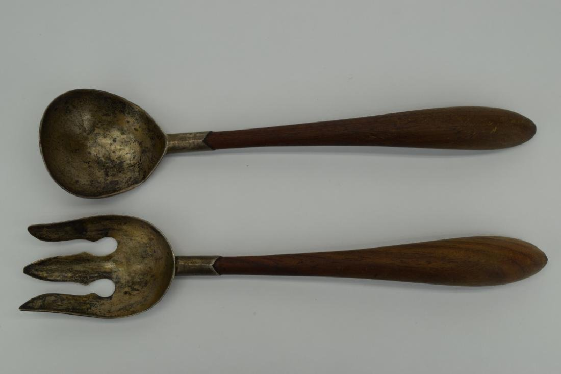 RARE MEXICO STERLING SILVER & WOOD SALAD SERVERS
