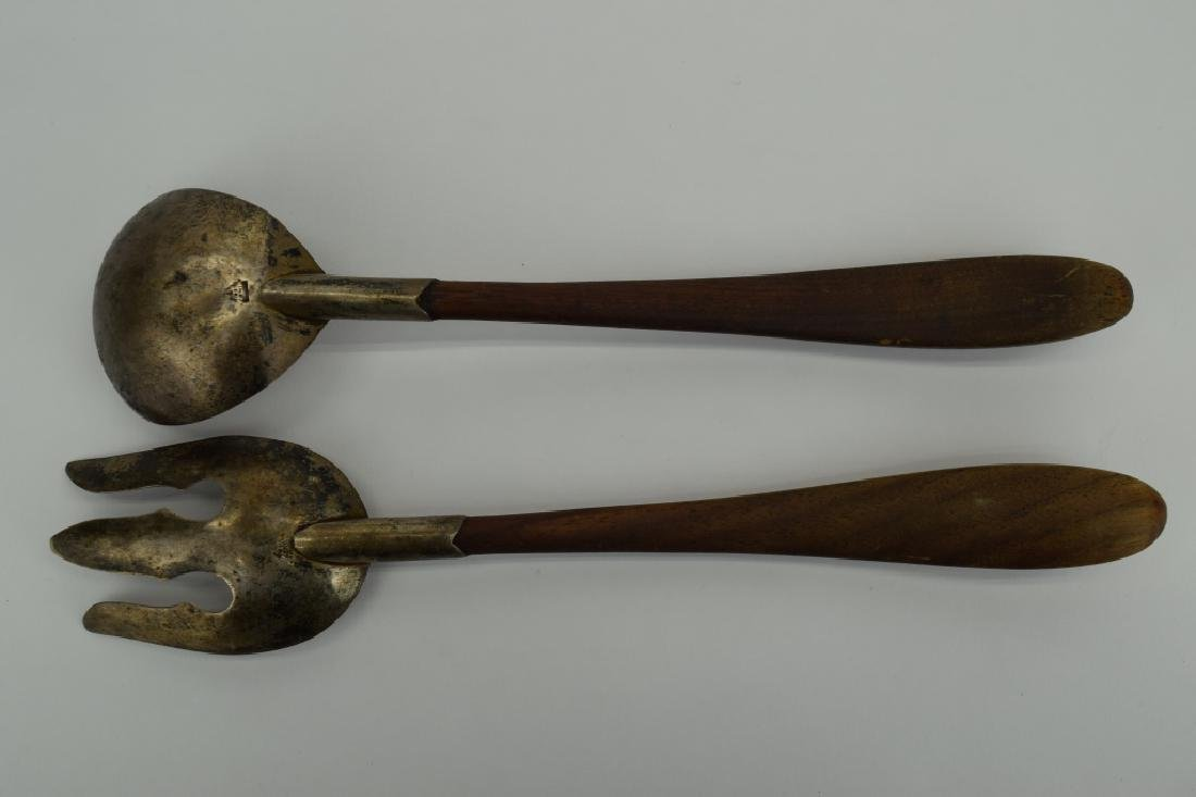 RARE MEXICO STERLING SILVER & WOOD SALAD SERVERS - 3