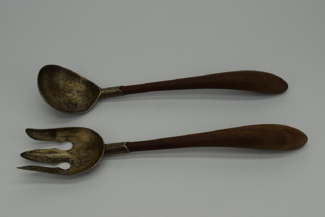 RARE MEXICO STERLING SILVER & WOOD SALAD SERVERS - 7