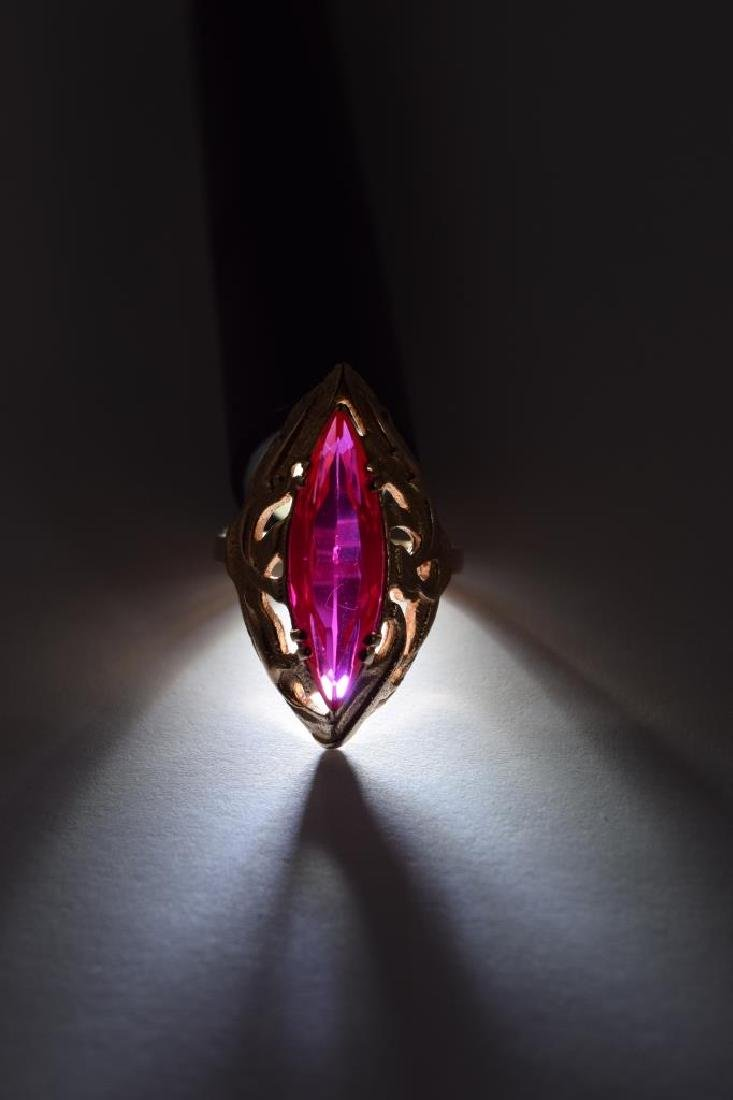 RUSSIAN .585 GOLD MARQUISE CUT RUBY RING - 10