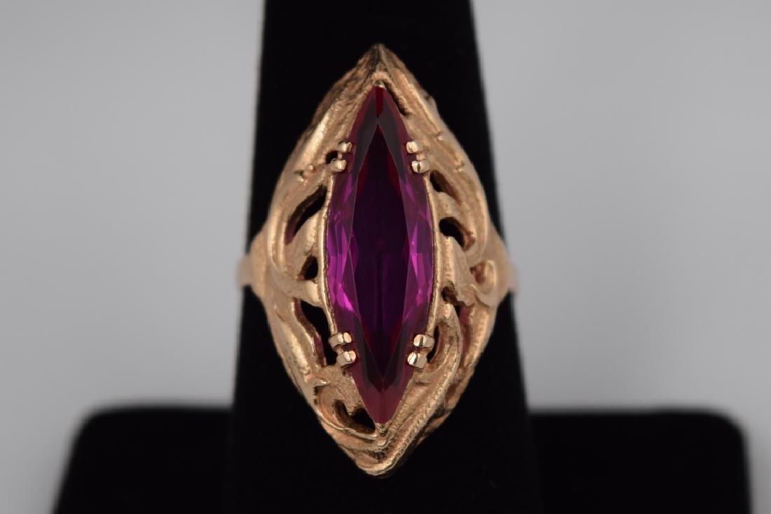 RUSSIAN .585 GOLD MARQUISE CUT RUBY RING