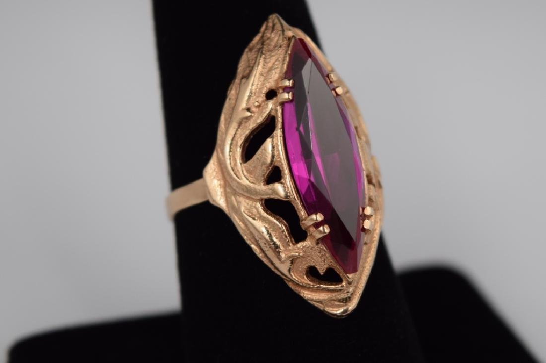 RUSSIAN .585 GOLD MARQUISE CUT RUBY RING - 2