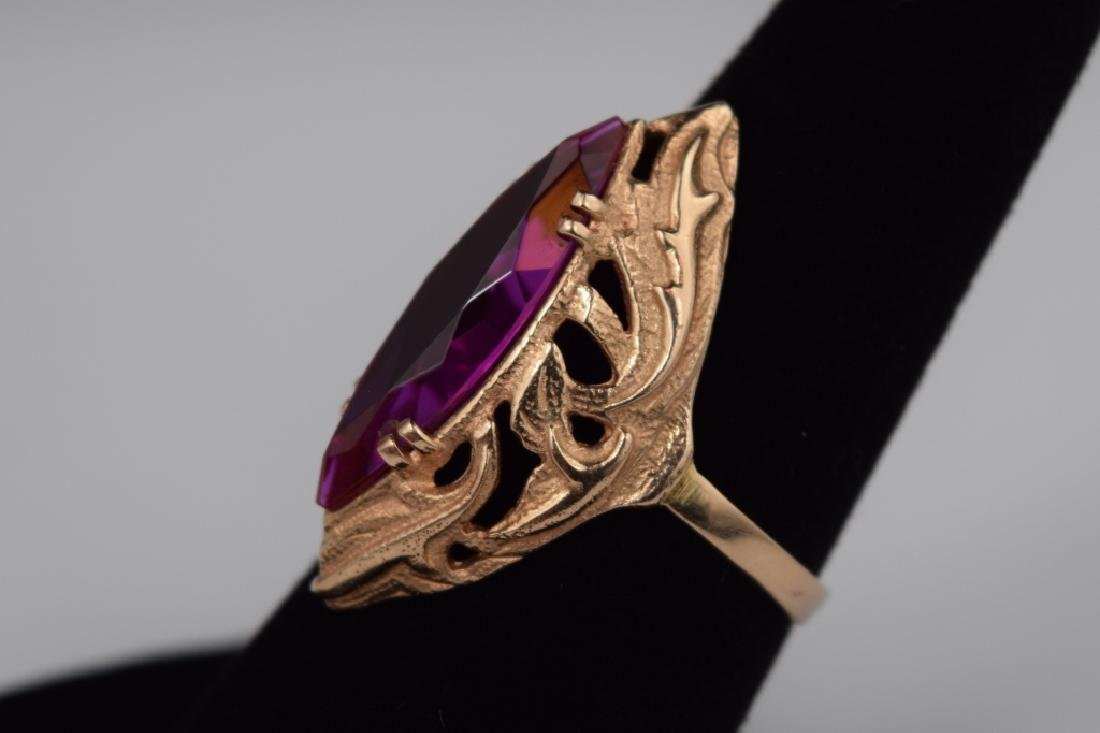 RUSSIAN .585 GOLD MARQUISE CUT RUBY RING - 5