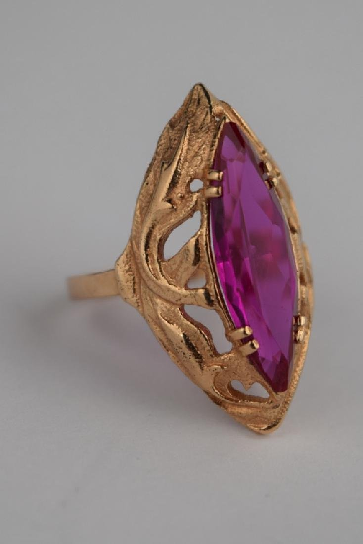 RUSSIAN .585 GOLD MARQUISE CUT RUBY RING - 7