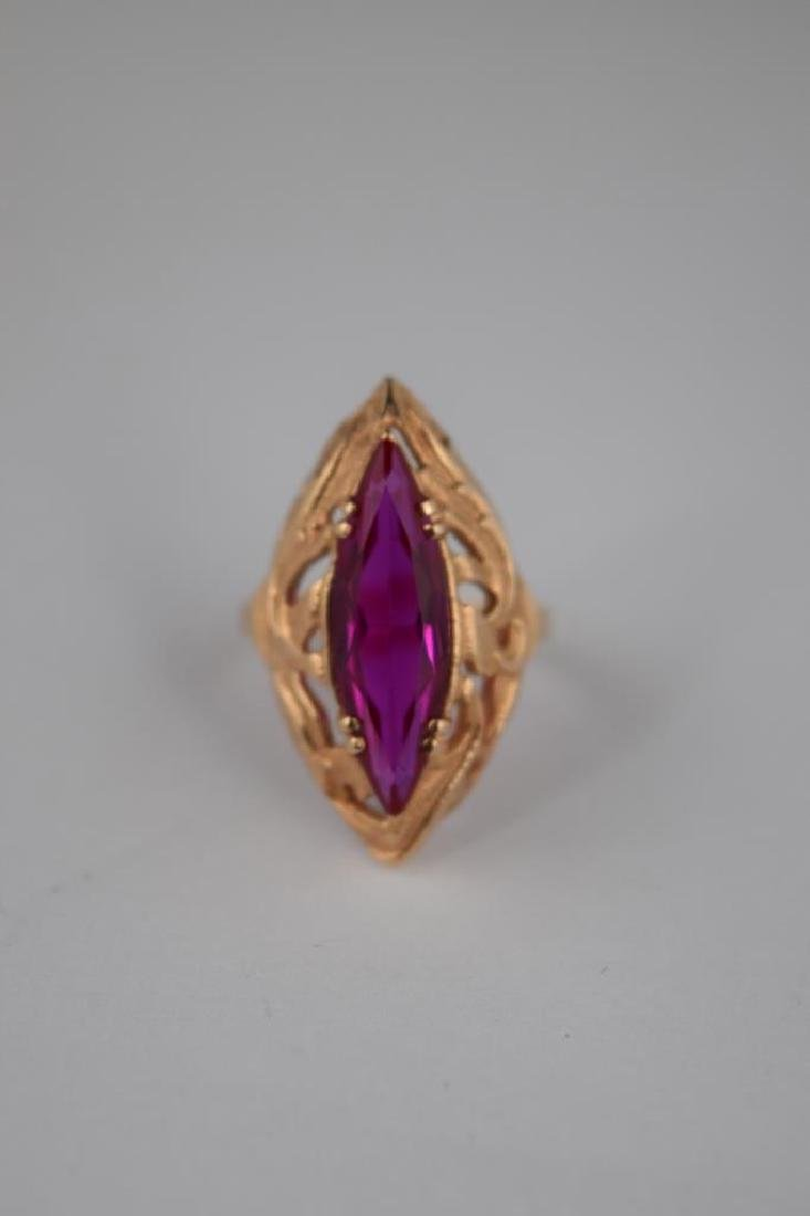 RUSSIAN .585 GOLD MARQUISE CUT RUBY RING - 8