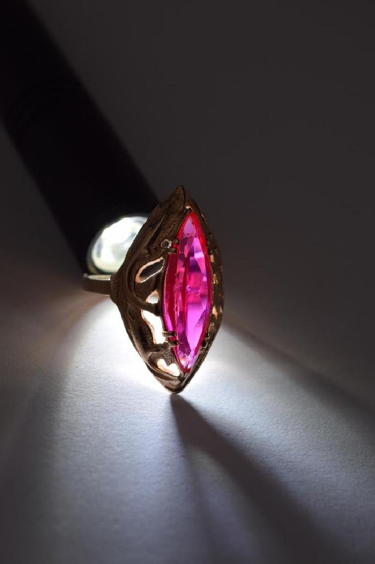 RUSSIAN .585 GOLD MARQUISE CUT RUBY RING - 9