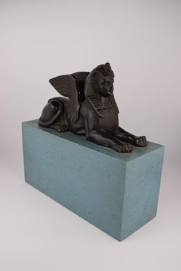 PATINATED BRONZE EGYPTIAN SPHINX SCULPTURE - 10