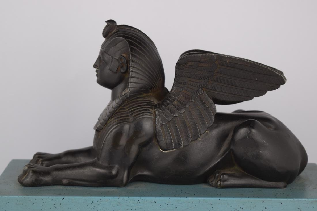 PATINATED BRONZE EGYPTIAN SPHINX SCULPTURE