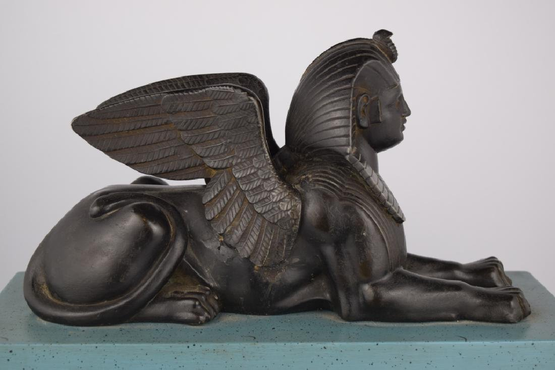 PATINATED BRONZE EGYPTIAN SPHINX SCULPTURE - 5