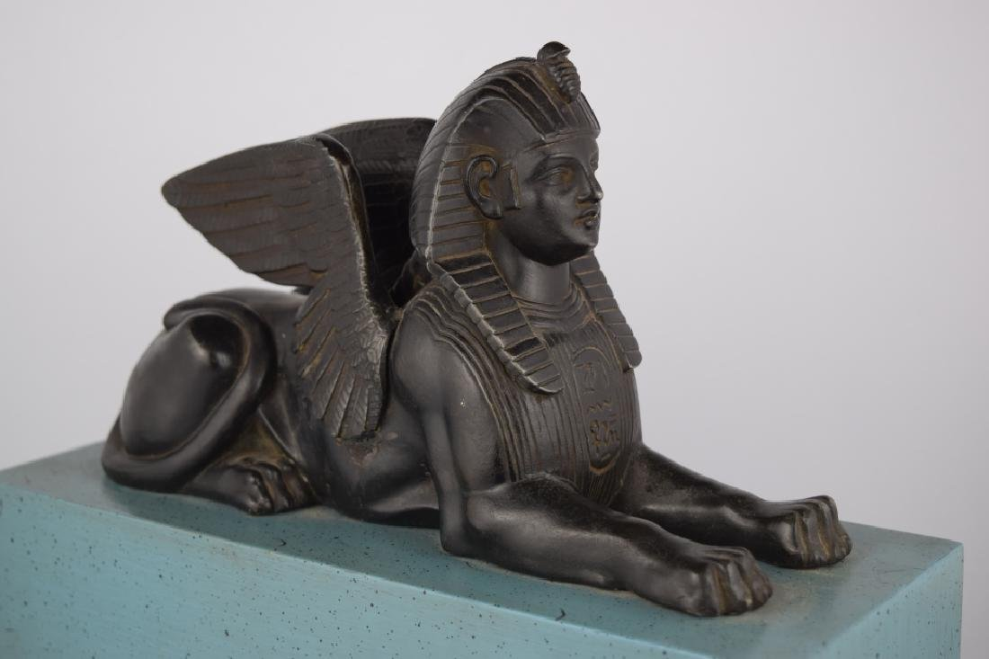 PATINATED BRONZE EGYPTIAN SPHINX SCULPTURE - 6