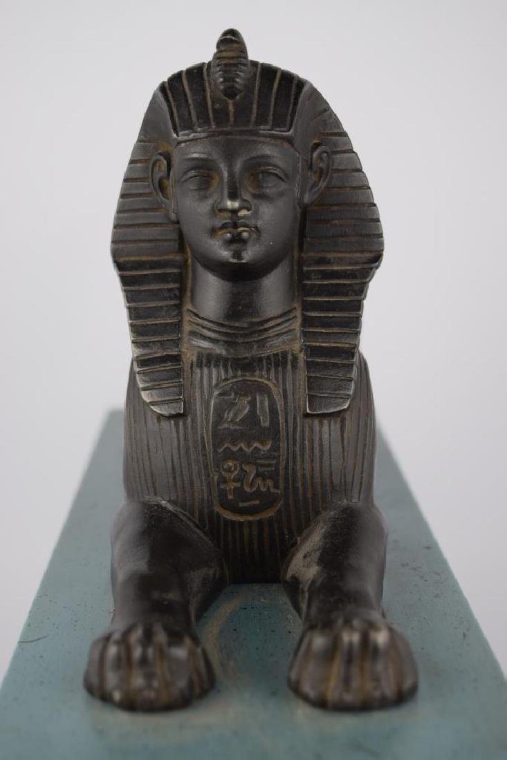 PATINATED BRONZE EGYPTIAN SPHINX SCULPTURE - 7