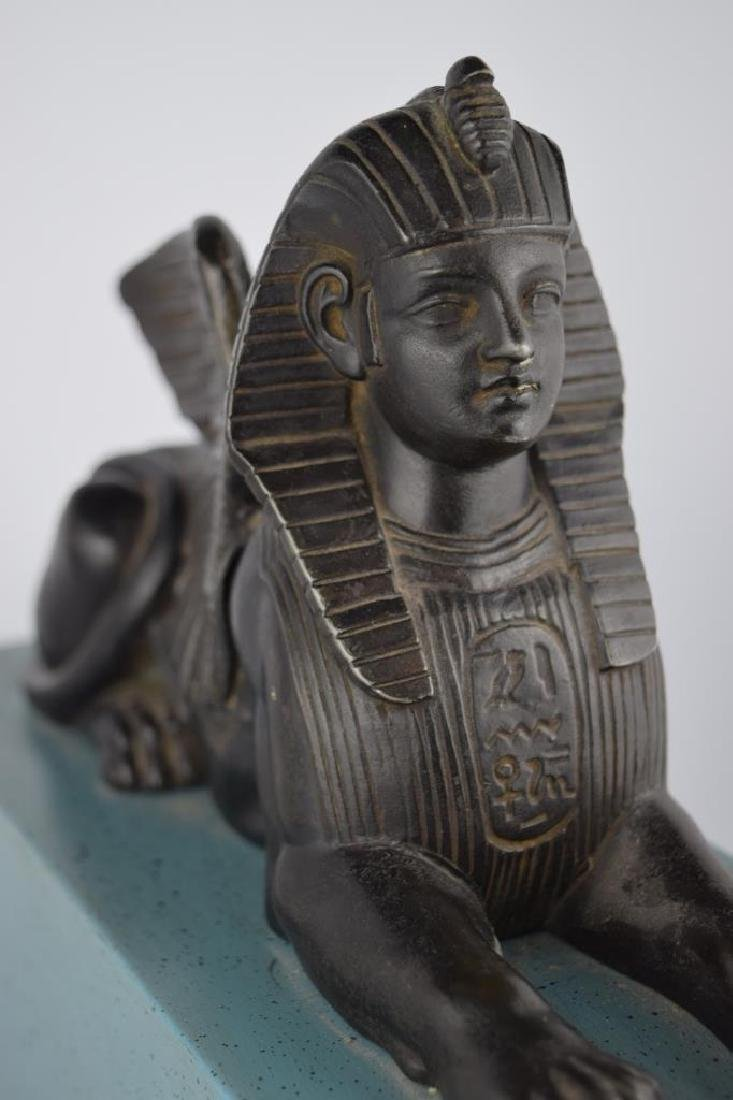 PATINATED BRONZE EGYPTIAN SPHINX SCULPTURE - 9