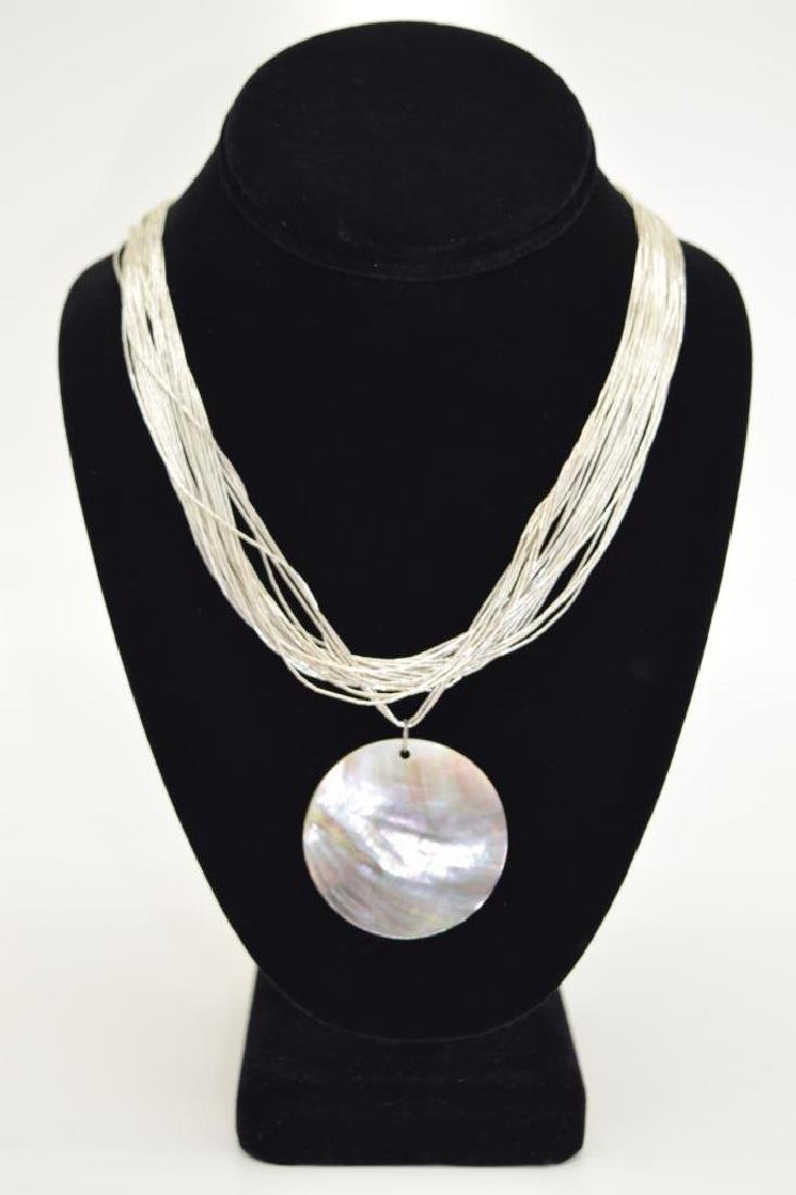 STERLING SILVER NECKLACE ABALONE PENDANT