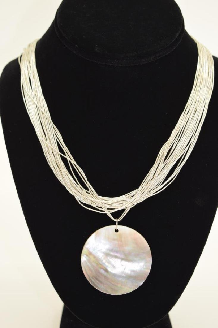STERLING SILVER NECKLACE ABALONE PENDANT - 2