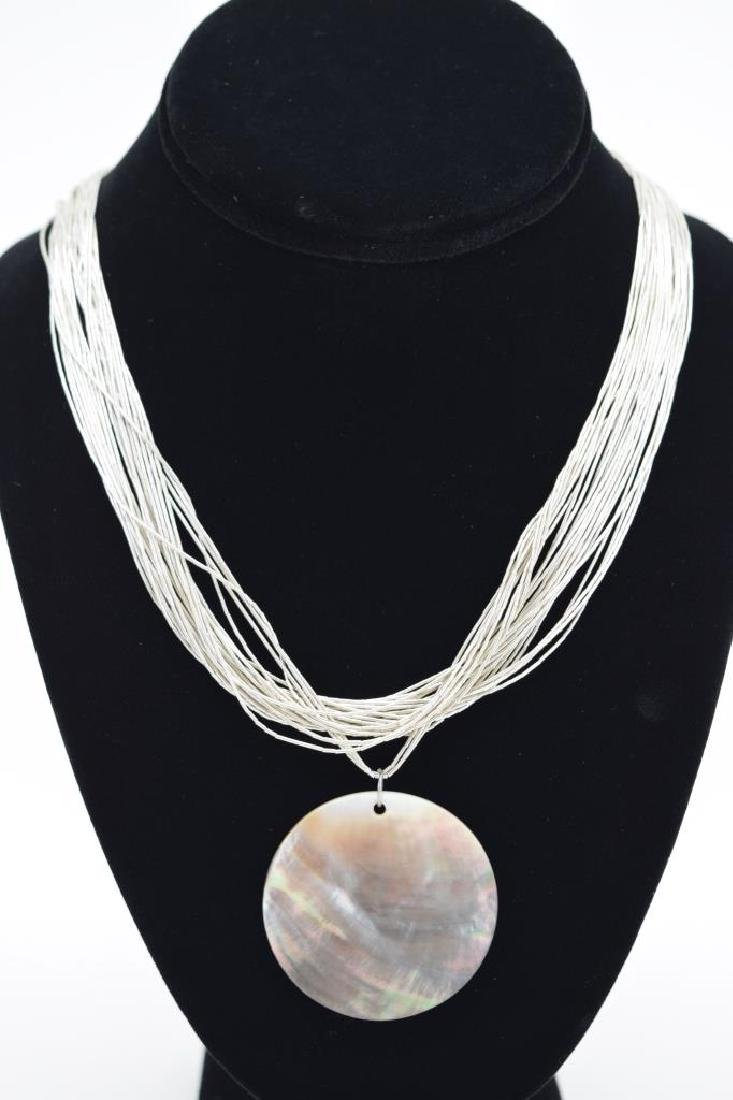 STERLING SILVER NECKLACE ABALONE PENDANT - 3