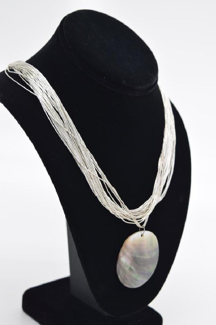 STERLING SILVER NECKLACE ABALONE PENDANT - 4