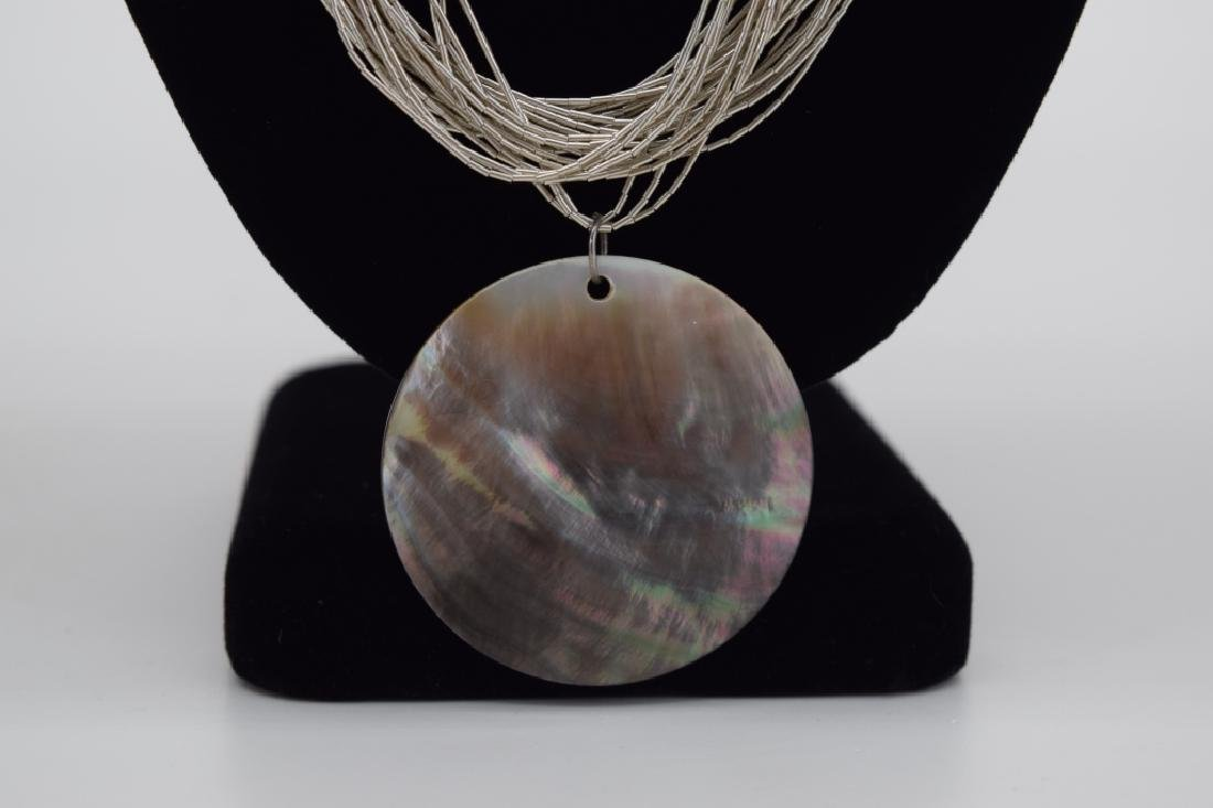 STERLING SILVER NECKLACE ABALONE PENDANT - 8