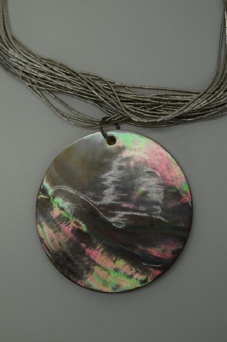 STERLING SILVER NECKLACE ABALONE PENDANT - 9