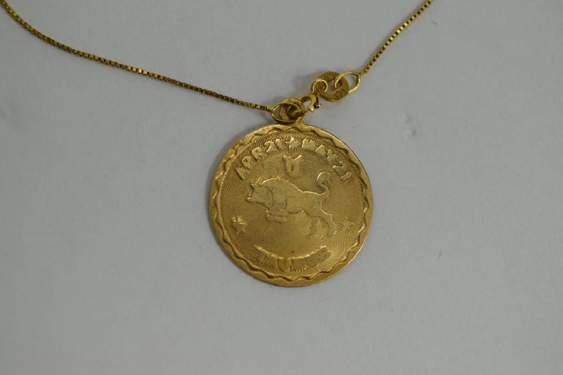 14K GOLD TAURUS PENDANT & 14K GOLD NECKLACE