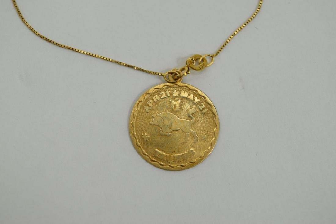 14K GOLD TAURUS PENDANT & 14K GOLD NECKLACE - 2