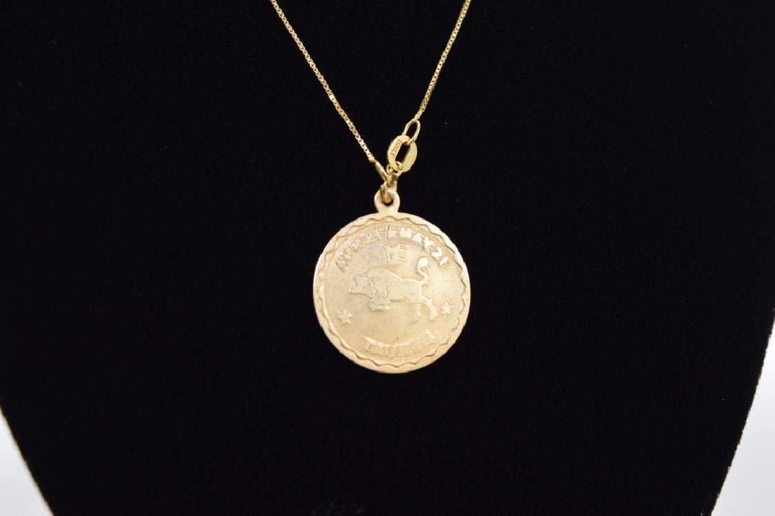 14K GOLD TAURUS PENDANT & 14K GOLD NECKLACE - 7