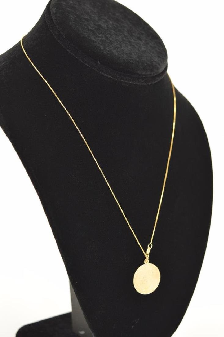 14K GOLD TAURUS PENDANT & 14K GOLD NECKLACE - 9