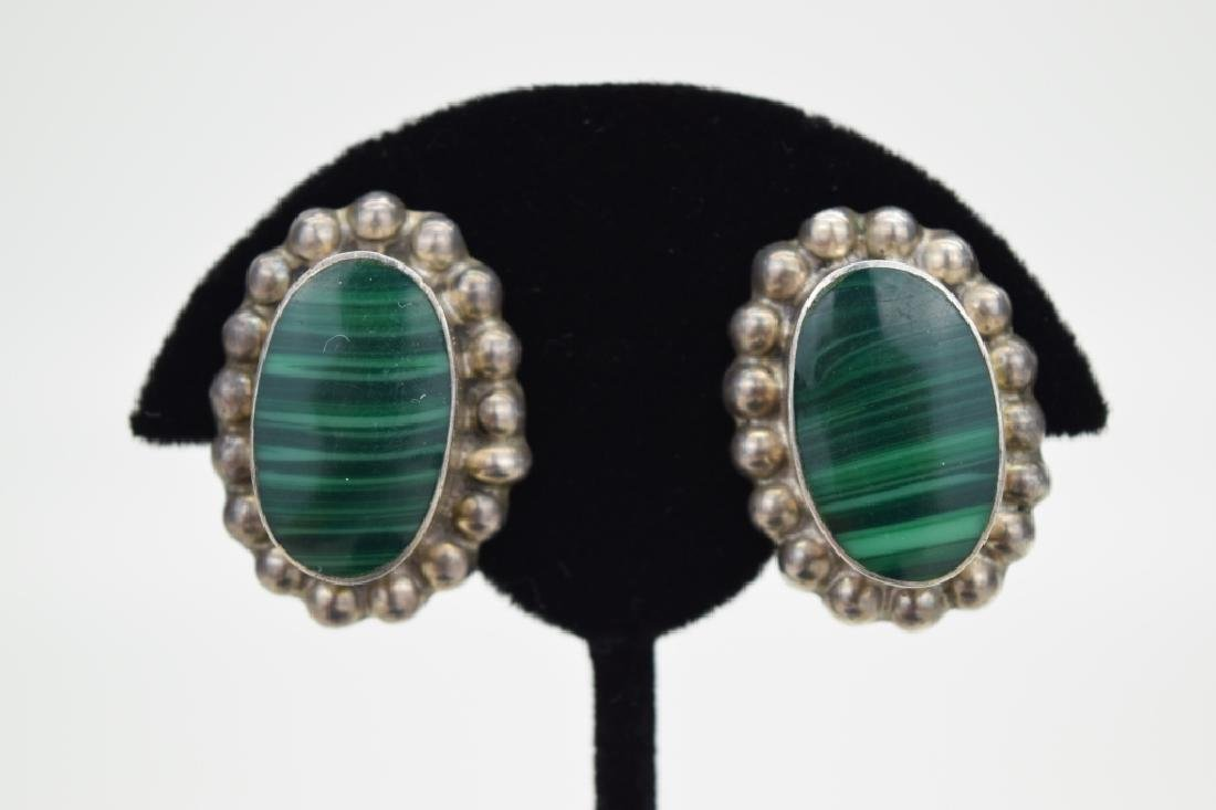 TAXCO MEXICO STERLING SILVER MALACHITE EARRINGS