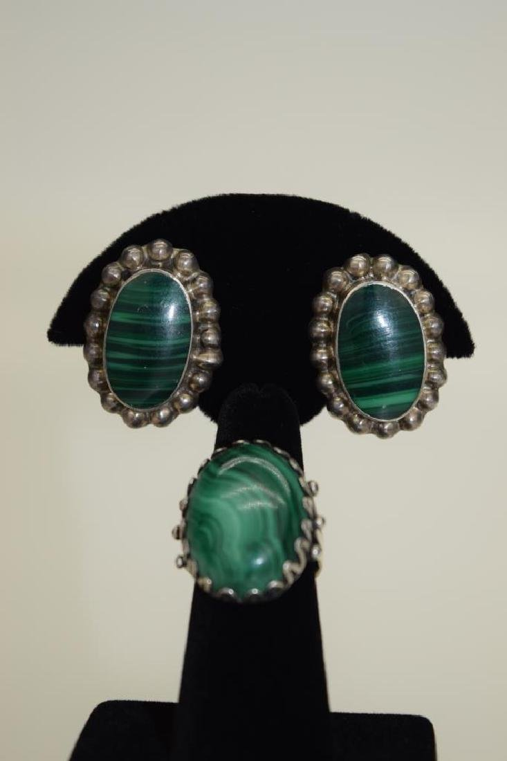 TAXCO MEXICO STERLING SILVER MALACHITE EARRINGS - 2
