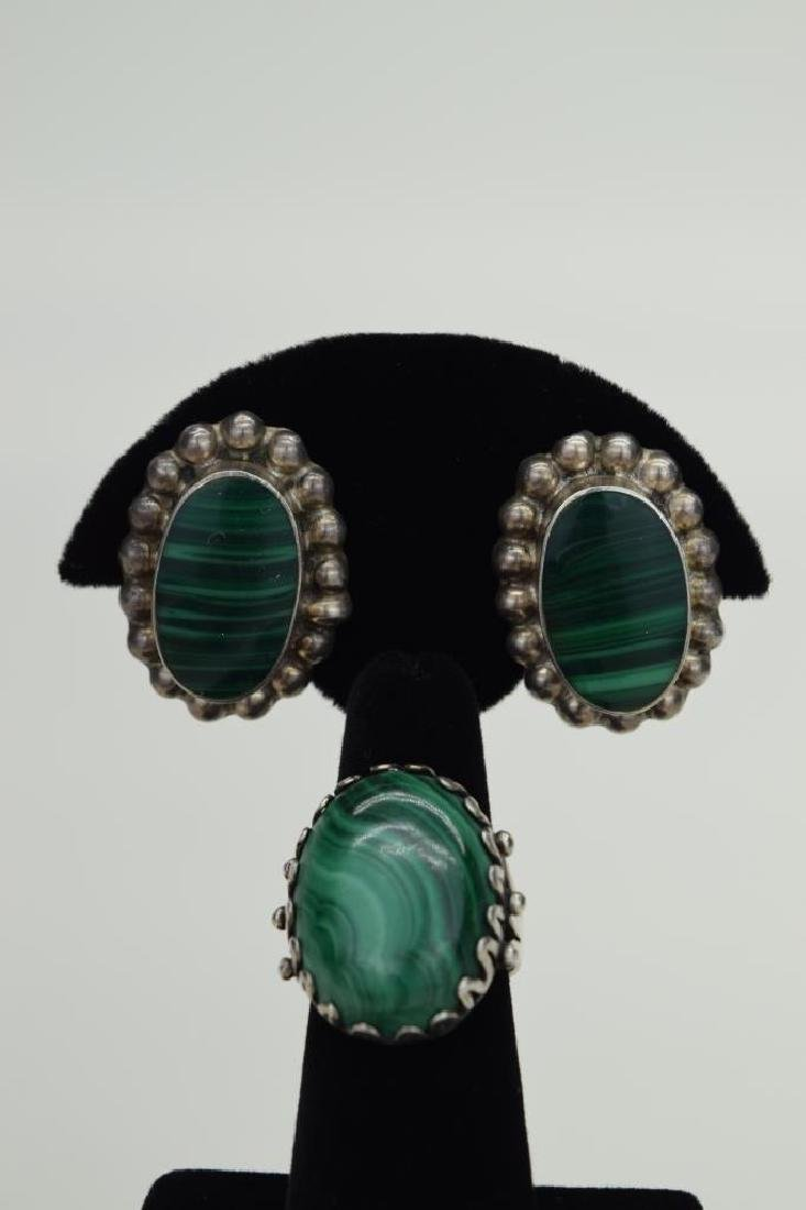 TAXCO MEXICO STERLING SILVER MALACHITE EARRINGS - 3