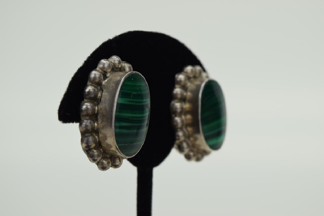 TAXCO MEXICO STERLING SILVER MALACHITE EARRINGS - 4