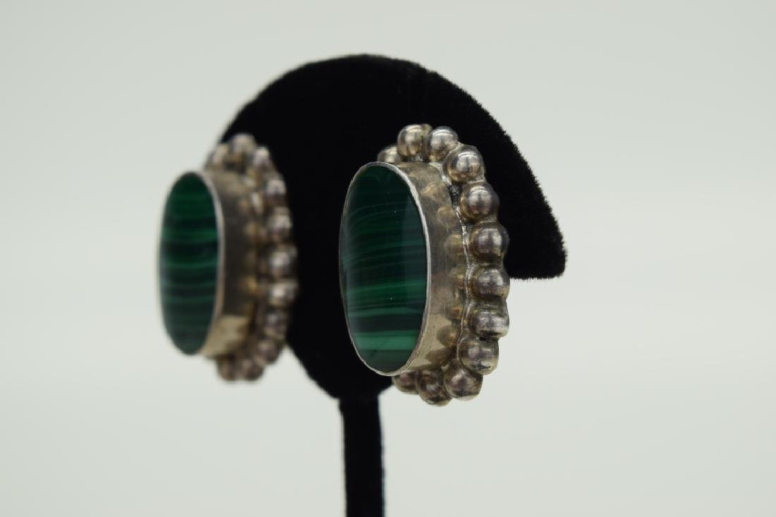 TAXCO MEXICO STERLING SILVER MALACHITE EARRINGS - 5